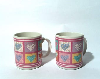 Vintage 1980s Amazing Abstract Graphic Pair of Heart Mugs/Keith Harring-like/Gift Worthy/Pastel Party Time/Awesome Sauce