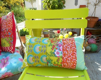 'Red splendor and lime' Patchwork Cushion cover 50 x 30 cm open wallet