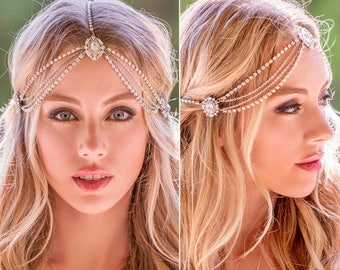 Boho Bridal Headband, Crystal Bridal Headpiece, Wedding Headpiece, Wedding Headband, Bridal Hair Accessories, Silver Wedding Hair H221