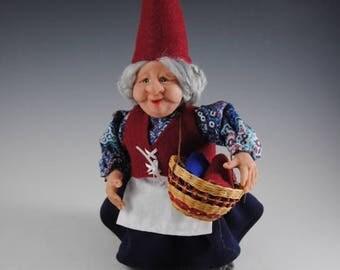 "Gnome/Hand Sculpted Woodland Gnome/""Alice"""