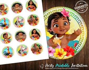 Moana Cupcakes Toppers, Printable Moana Toppers, Moana party Toppers Instant download