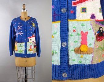 Vintage Novelty Sweater Cardigan with Fun People Appliqués