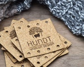 Laser engraved labels 2x2 inches - made from Cork Fabric - Cork labels, Personalized cork labels, Cork tags , Custom Labels