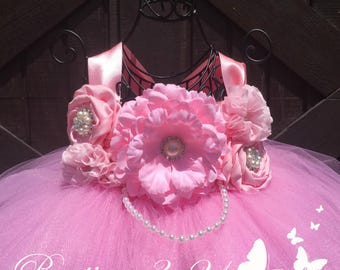 Pink Flower Girl Dress, Pink Tutu Dress, Pink Tulle Dress, Pink Dress, Pink Wedding, Pink