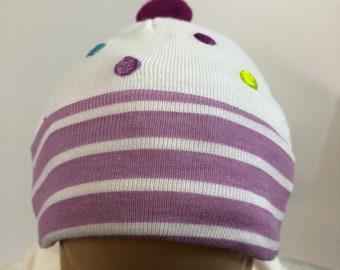 "15 inch Bitty Baby Doll Hat, Cute Purple ""STRIPES & POLKA Dots"" Doll HAT, 15 inch Bitty Baby Clothes or Twin Doll, 15 inch Baby Doll Clothes"