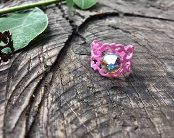 Pink ring, clear crystal ring, filigree ring, boho chic ring, bohemian ring, baroque ring, uk shop, uk seller, gift for her