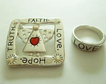 Angel   LOVE Hope FAITH Truth Pin & Ring Set