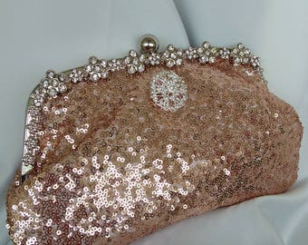 Blush rose gold champagne sequin rhinestone frame wedding clutch purse new years eve holiday prom clutch BBsCustomClutches