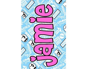 Girls Gymnastics Personalized Beach Towel - Gymnastics- Beach Towel - Girls Gymnastics - Pool Party - Gymnastic Girl