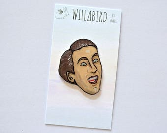 Nic Cage Pin, by Artist Amber Petersen. Handmade Funny Accessory. Join the Pin Trend. Great for Gifts! Crazy-Eyed Nicolas Cage You Don't Say