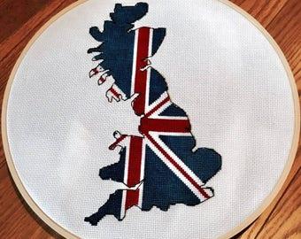 Great Britain Cross stitch pattern / union jack British Isles / counted cross stitch chart / cross stitch pattern PDF / Instant download