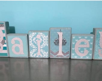 Name blocks - Tiffany's themed