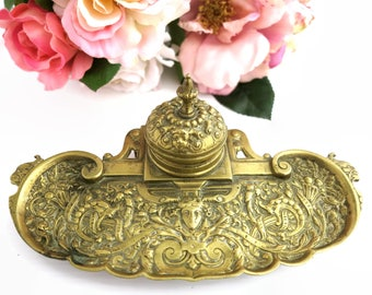 Antique 1800s brass inkwell in Baroque style, highly elaborate with ink container with lid and quill resting section, beautiful cast brass