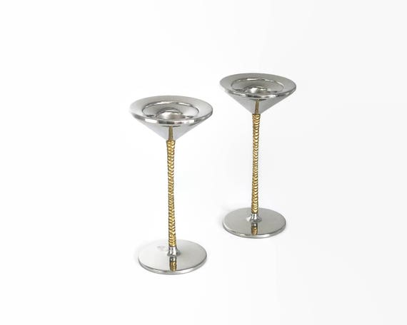 2 vintage candlestick holders, Viners by Stuart Devlin, modernist, stainless steel with gilding, Sheffield, England, circa 1970s
