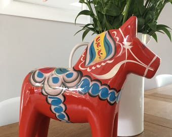 HUGE! Red 30cm Swedish Dala horse. wooden beautiful hand made, painted classic traditional nordic gift genuine swedish ornament, home decor