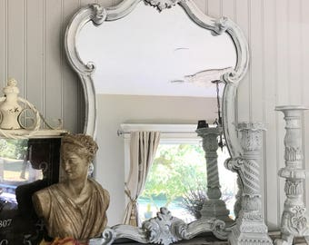 Bathroom Mirror Large Silver and White Mirror, Ornate Wall Hanging Mirror, Antique Baroque Mirror, Hollywood Regency