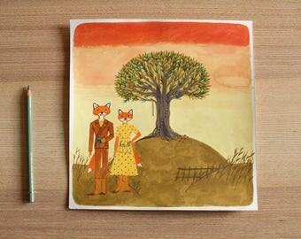 original, gouache, Fantastic Mr Fox illustration