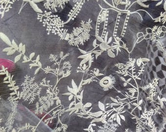Beige Silk embroidery lace fabric,cotton embroidery on 100% silk fabric,wedding dress fabric,flower embroidery,lace chiffon,embroidery veil