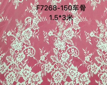Chantilly corded Lace, Chantilly Lace Fabric, 27.5 inches Wide for Veil, Dress, Costume, Craft Making-7268
