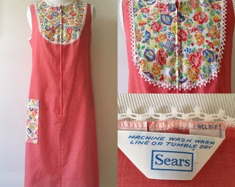 M/L 1970s Sears Coral Floral House Dress