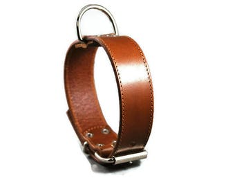 Rouxie Cognac brown leather dog collar, 100% leather, 3 cm wide
