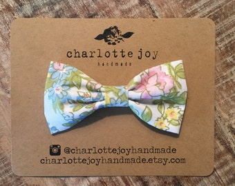 The Landon Bow Tie in Pastel Floral - Baby Bow Tie - Toddler Bow Tie - Boys Bow Tie - Clip on Bow Tie