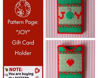"Plastic Canvas Pattern Page: ""JOY"" Gift Card Holders (graphs and photos, no written instructions) **PATTERN ONLY!**"