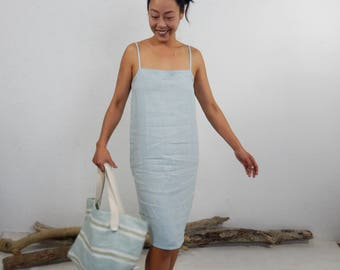 Linen dress with straps - BRAS