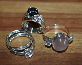 GEMMY CLEARANCE LOT * 4 Solid Sterling Silver Gemstone Rings * Rose Quartz * Alexandrite * Aquamarine * Cubic Zirconia * Free U.S. Shipping