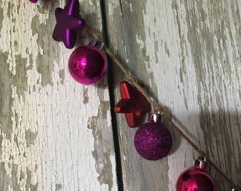 Red, Fuchsia, and Purple Shatter-Proof Mini Ornament Garland