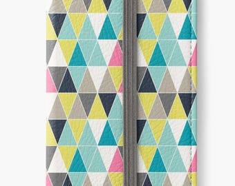 Folio Wallet Case for iPhone 8 Plus, iPhone 8, iPhone 7, iPhone 6 Plus, iPhone SE, iPhone 6, iPhone 5s - Colourful Triangles Case