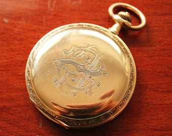Antique solid 14k Gold Pocket Watch - Full Hunter - 585 Rose Gold - Precision Movement