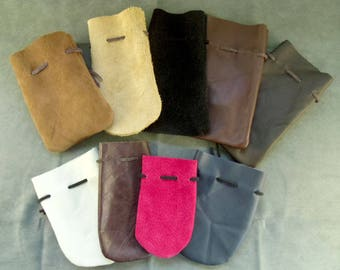 Small Leather Drawstring Dice Bag or Coin Pouch in Assorted Colors & Sizes