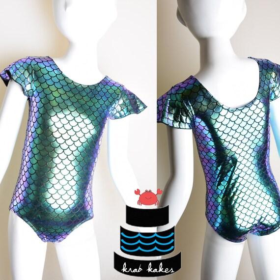 Girls Mermaid Foil Flutter Sleeves Metallic Leotard. Metallic Fish Scales Mermaid Dance Leotard. Gymnastics Leotard