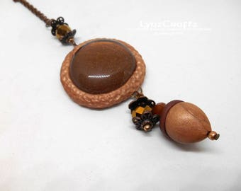 The Acorn  copper & copper polymer clay jewelry pendant necklace cabochon charm