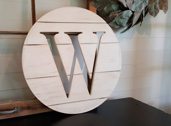 Wooden Letter Round - Shiplap Look - Farmhouse - Shiplap Letter - Distressed Wood Initial