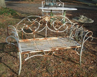 Antique Metal Outdoor Furniture / Vintage French Country Bench / Vintage  Metal Patio Sofa/ Very