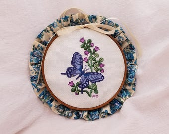 Hand Embroidered Butterfly Picture