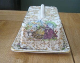 Vintage Crinoline Lady Butter/Cheese Dish and Lid