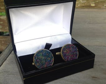 Harris tweed cuff links made with Heather tweed Father's Day gift birthday wedding groomsmen