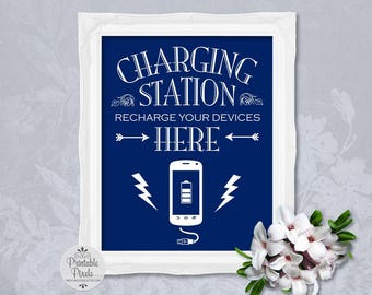 Charging Station Sign, Navy Blue Background, Printable, Wedding Sign, Party, Power Bar (#CH11U)