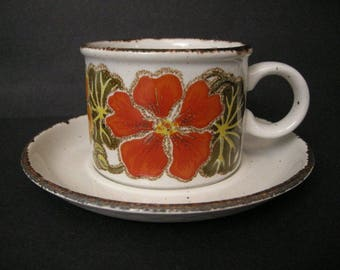 """5 Sets of 1970's Midwinter Stonehenge """"Nasturtium"""" Cups & Saucers  ~ Made in England"""