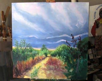 Custom oil painting, impasto, maria maza, painting from photo, original abstract landscape, bohemian painting, modern art, contemporary art