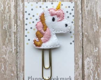 Unicorn Feltie Planner Clip, Unicorn Paperclip Bookmark, Cute Planner Accessories, Bible Journaling, Book Lover Gift