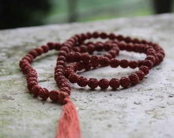 Sacred Rudraksha Seed Mala Necklace w/Brown Tassel