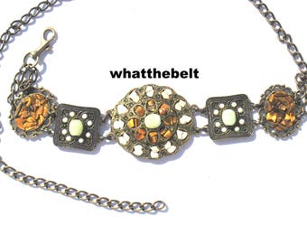 Vintage Belt Jeweled Gold Bronze Chain Belt