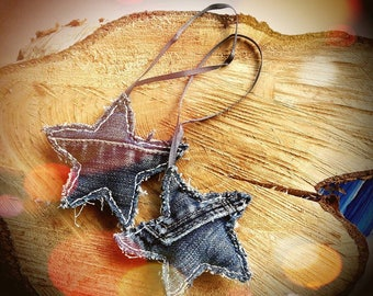 Recycled Denim Fabric Star Hanging Tree Decorations - Set of 2 Handmade Christmas Winter Stars - MADE TO ORDER