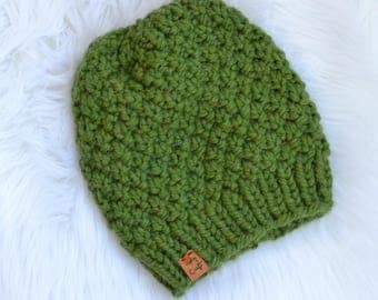 Handmade Knit Chunky Hat, Knit Pom Pom Hat, Green Knit Hat, Linden Hat, Available with Faux Fur Pom Pom,  Ready to Ship