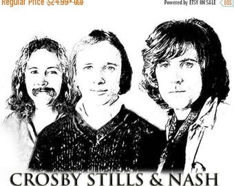40% OFF Sale Crosby, Stills and Nash Drawing T shirt