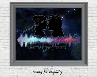 New Waveform (Voice Print Sound Wave) Art!   I Love You I Know Star Wars Empire Strikes Back Inspired Movie Quote